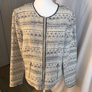 NWT ANA Zip Front Blue/Cream Boucle Jacket Size XL